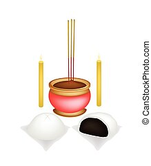 Chinese Baozi with Candle and Joss Stick - Chinese Cultural,...