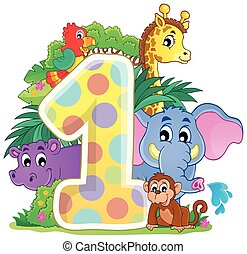Happy animals around number one - eps10 vector illustration.