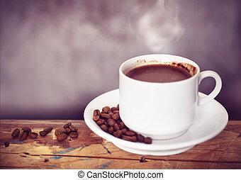 café, taza, y, café, frijoles, en, Un, de madera, tabla,