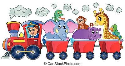 Tåg, med, lycklig, djuren,