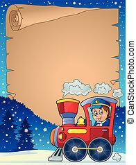 Winter parchment with locomotive - eps10 vector illustration...