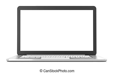 Laptop with blank screen, 3d render, white background