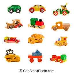 collection old wooden  car  toys