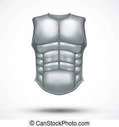 Silver ancient gladiator body armor. Vector Illustration...