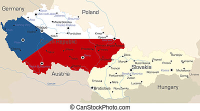Czech Republic - Abstract color map of Czech Republic...