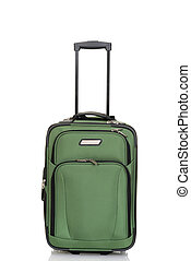 green suitcase with handle on white
