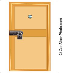 Wooden door with external lock - Wooden door with outboard...