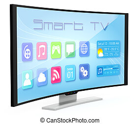 Curved tv - one curved smart tv, with apps screen (3d...