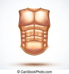 Golden ancient gladiator body armor. Vector Illustration...