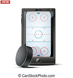 Smartphone with ice hockey puck and field on the screen...