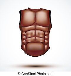 Brown leather ancient gladiator body armor. Vector...