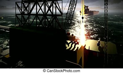 Oil rig  platform at night