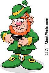 Leprechaun Texting - A vector illustration of a leprechaun...