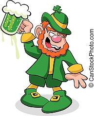 Leprechaun Drunk - A vector illustration of a leprechaun,...