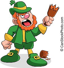 Leprechaun Fighting - A vector illustration of a leprechaun,...