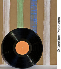Vinil Disk and wallpaper - Striped wallpaper and handmade...