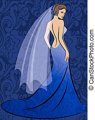 The bride in a blue dress