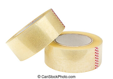 Two rolls of adhesive tape Isolated on white background...