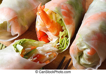 sliced spring rolls with shrimp vegetables macro horizontal...