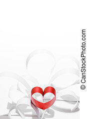 Paper hearts - Red and white paper hearts composition,...