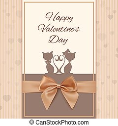 Valentine's Day greeting card template with two cats, bow...