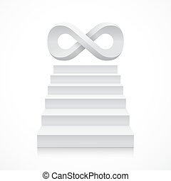 Stairs with infinity symbol on top. Steps. Vector...