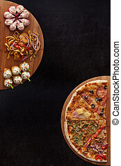 pizza and sushi f - composition at plate by pizza and sushi...
