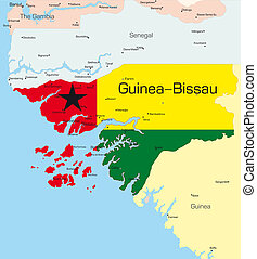 Guinea-Bissau - Abstract color map of Guinea-Bissau country...