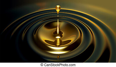 Oil Droplet - An extreme close up of a drop of oil creating...