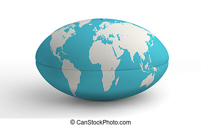 Rugby Ball World Map On White - A plain white textured rugby...