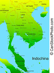 Indochina - map of Indochina countries