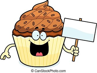Cartoon Chocolate Cupcake Sign