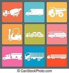 Set of nine icons of trucks. Vector illustration