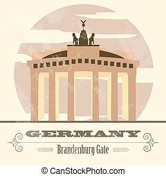 Germany landmarks Retro styled image Vector illustration