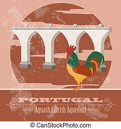 Portugal landmarks Retro styled image Vector illustration