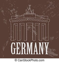 Germany landmarks. Retro styled image. Vector illustration