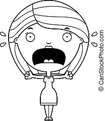 Scared Cartoon Woman - A cartoon illustration of a woman...