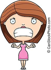 Angry Cartoon Woman - A cartoon illustration of a woman...