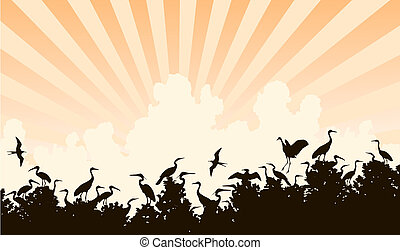 Bird colony - Editable vector illustration of a waterbird...