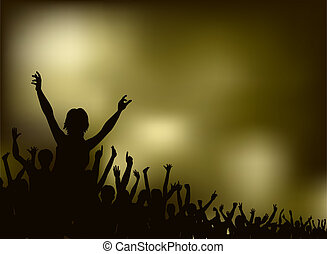 Concert - Editable vector silhouette of a crowd with each...