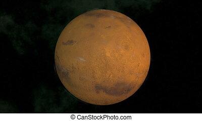 Mars - Computer render of the planet Mars, seamless loop