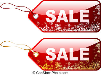 Christmas sale labels with snowflake designs