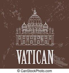 Vatican landmarks. Retro styled image. Vector illustration