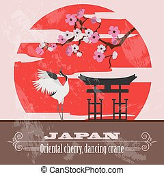 Japan landmarks Retro styled image Vector illustration