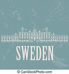 Sweden landmarks. Retro styled