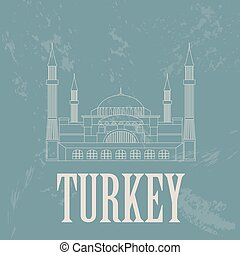 Turkey landmarks Retro styled image Vector illustration