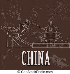 China landmarks. Retro styled image. Vector illustration