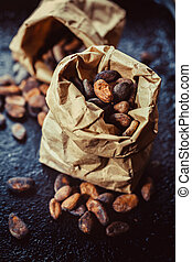 Cocoa beans  - fresh cocoa beans in the package