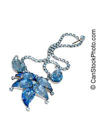 Vintage Necklace Isolated on White - Vintage bright-blue...