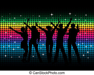 Party people - Silhouettes of people dancing on disco...